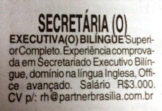 vaga secretária