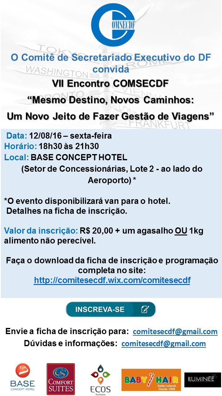 Convite VII Encontro COMSECDF Gestão de Viagens II